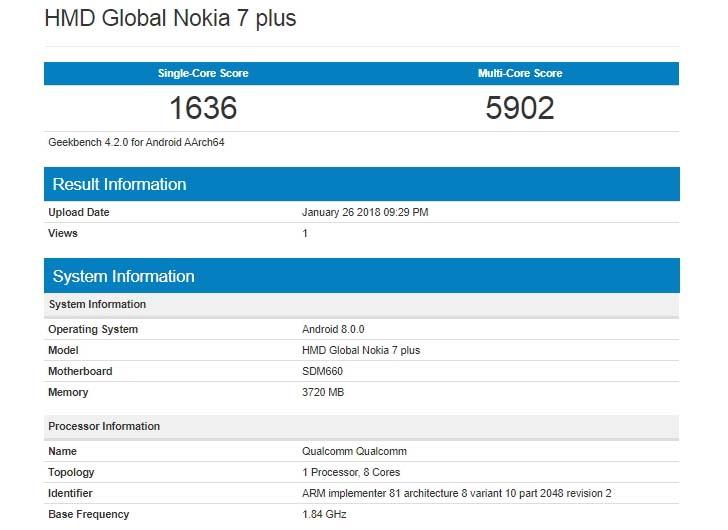 Еще не представленный Nokia 7 Plus появился в Geekbench
