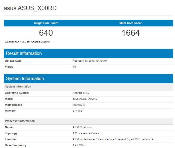 Смартфон Asus на Android Go замечен в бенчмарке Geekbench