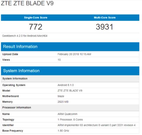 ZTE Blade V9 засветился в бенчмарке Geekbench