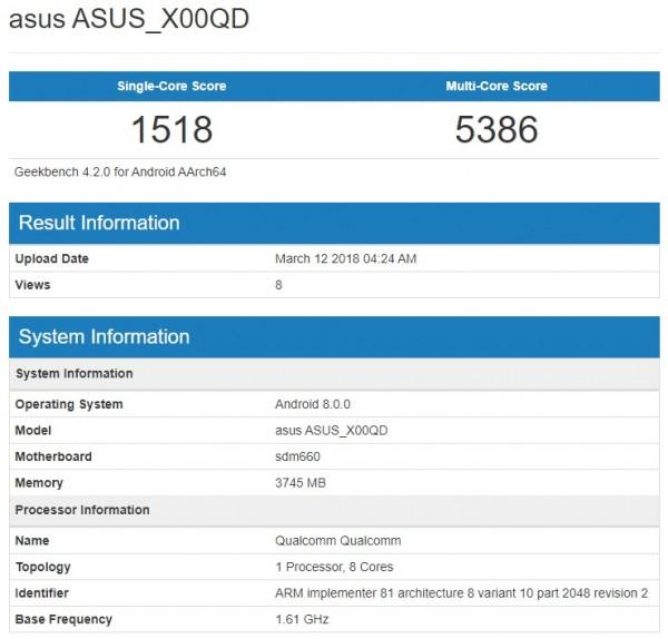 Asus ZenFone 5 Max засветился в бенчмарке Geekbench