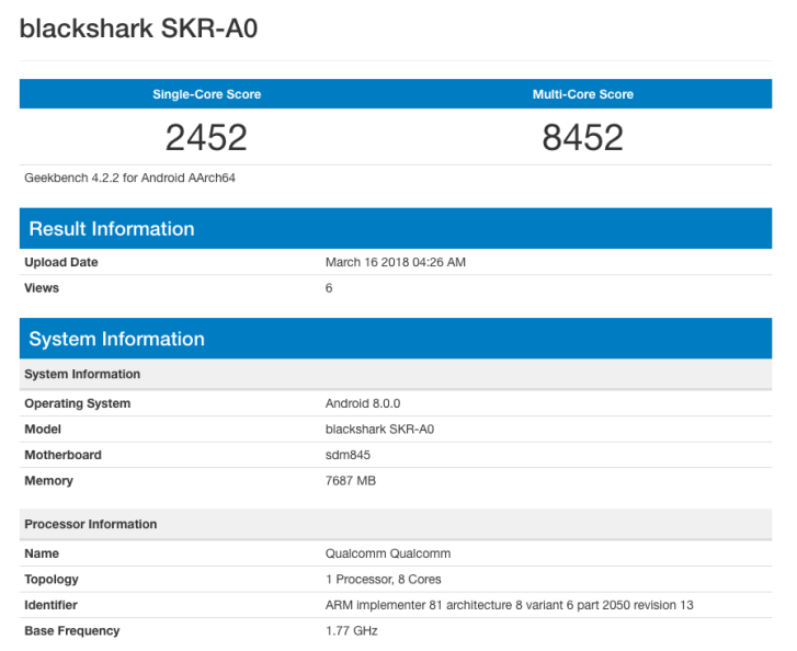 Игровой смартфон Xiaomi Blackshark замечен в популярном бенчмарке