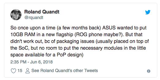 Asus ROG Phone должен был получить 10 Гб оперативки