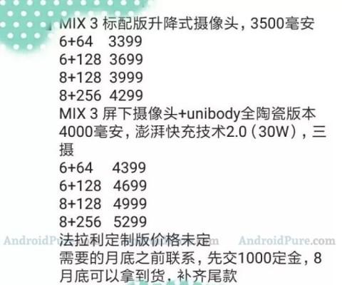 Самая дорогая версия Xiaomi Mi Mix 3 будет стоить 0