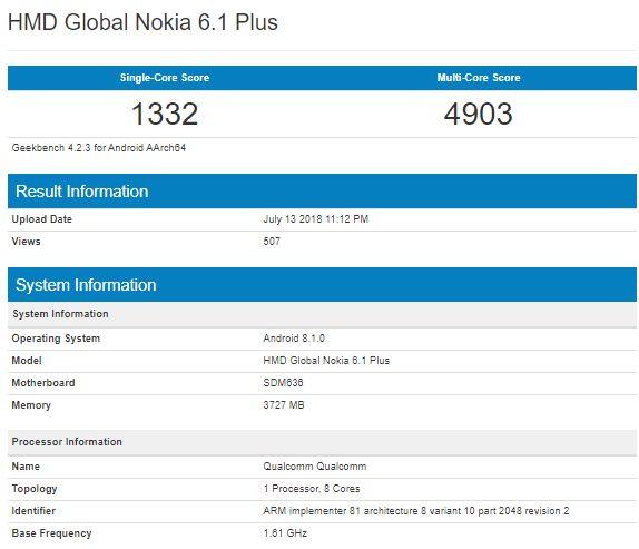 Nokia 6.1 Plus засветился в бенчмарке Geekbench