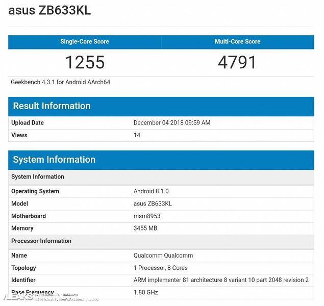 Asus ZenFone Max M2 и Max Pro M2 протестировали в Geekbench