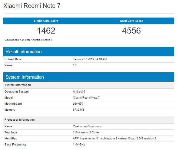 Xiaomi Redmi Note 7 прошел тест на производительность в Geekbench