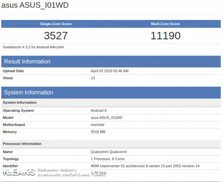 Asus ZenFone 6 протестирован в Geekbench