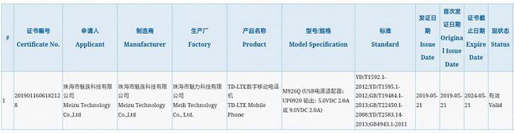 Meizu 16Xs получит быструю зарядку мощностью 18 Вт