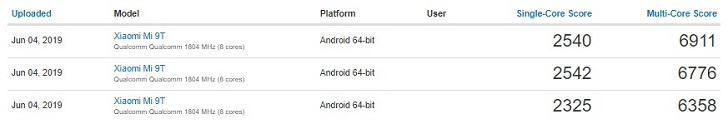 Xiaomi Mi 9T лишь ненамного обошел Redmi Note 7 Pro в Geekbench
