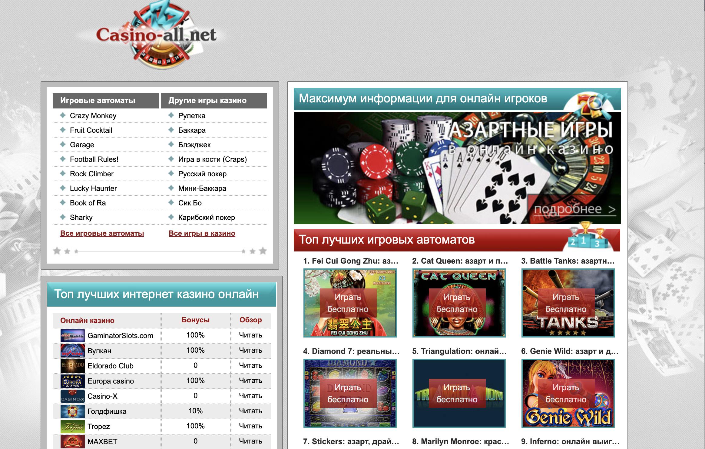 Информационный портал про онлайн казино
