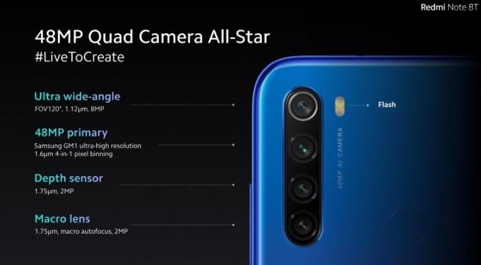 Redmi Note 8T: создавайте эпические фото с чотирьохсенсорной камерой на 48 Мп