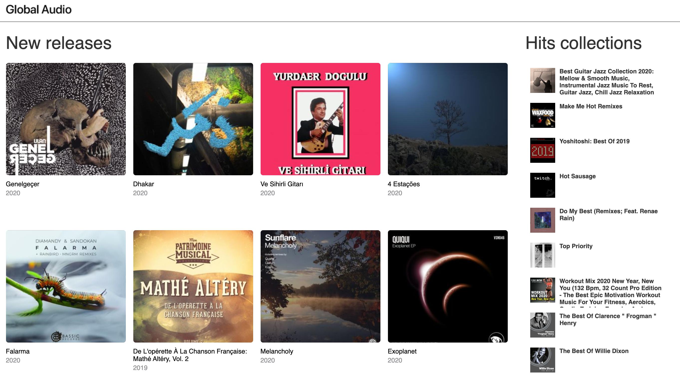 музыкальный сайт Global Audio