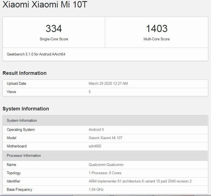 Xiaomi Mi 10T протестировали в Geekbench