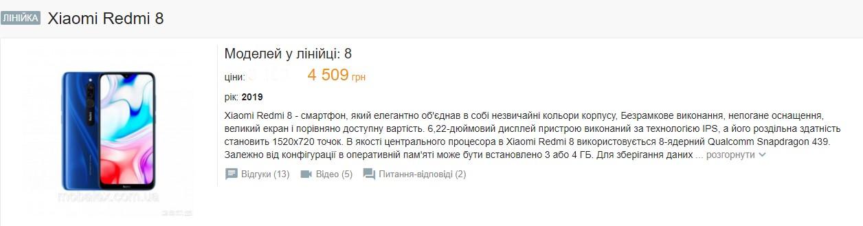 Бюджетный хит украинского рынка Xiaomi Redmi 8 снова упал в цене