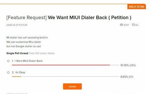 Владельцы Xiaomi требуют вернуть звонилку в MIUI 12