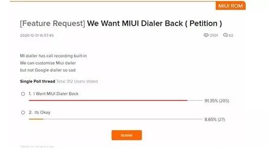 Фанаты Xiaomi ультимативно требуют вернуть Mi звонилку в MIUI 12